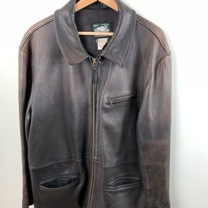 Roots Brown Leather Jacket Men's Size Large